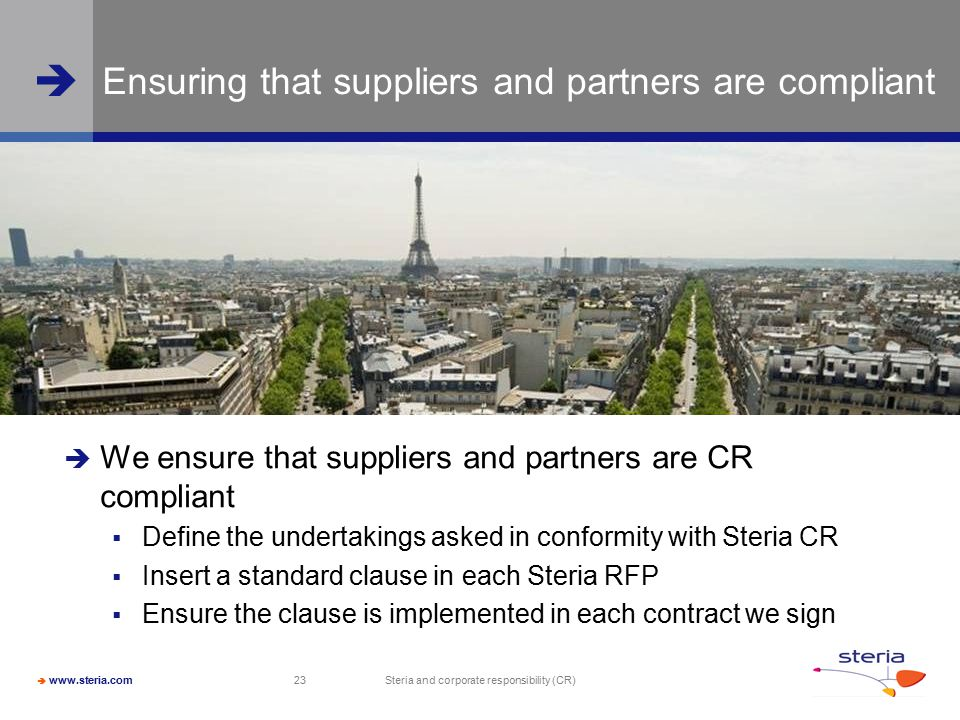 Ensuring that suppliers and partners are compliant