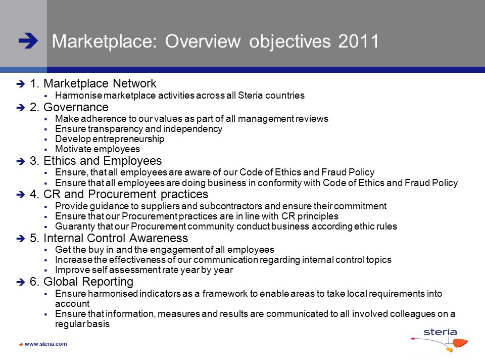 Marketplace: Overview objectives 2011