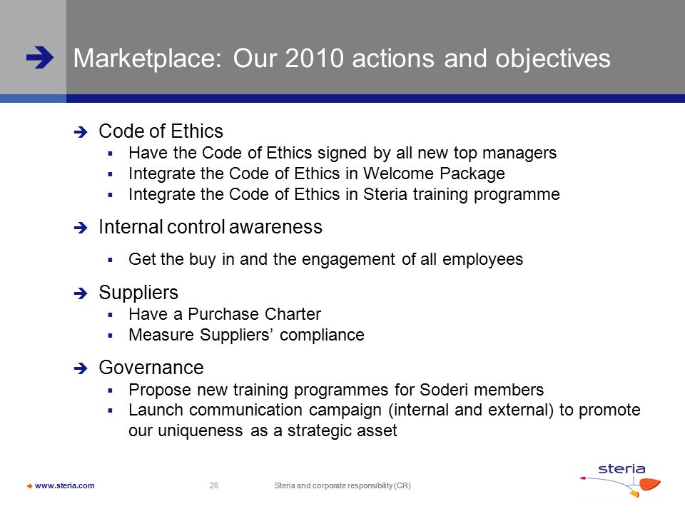 Marketplace: Our 2010 actions and objectives