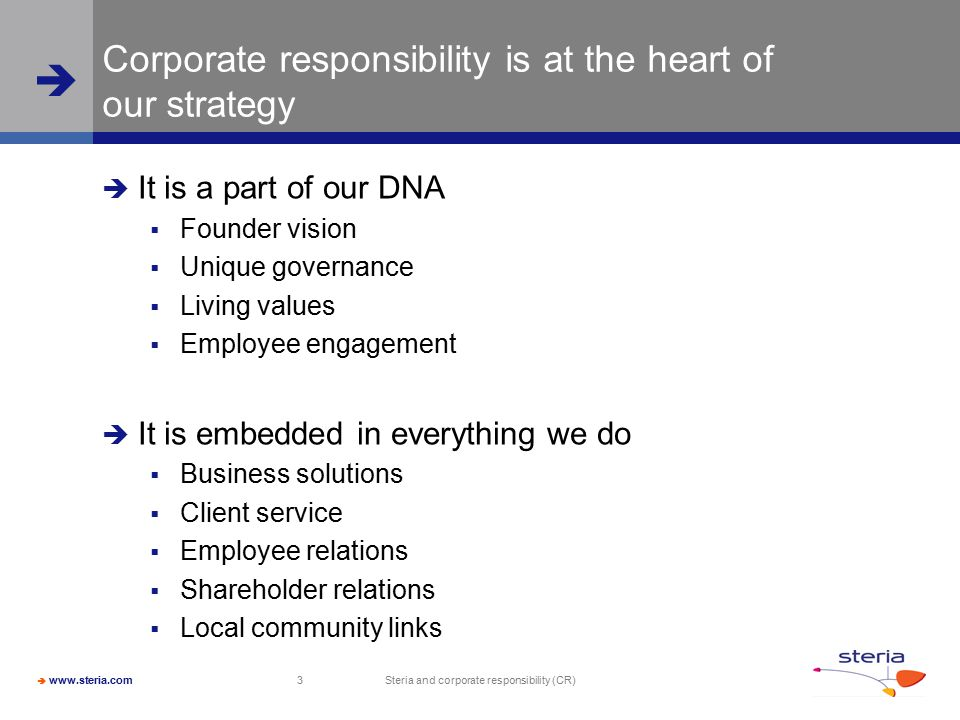 Corporate responsibility is at the heart of our strategy