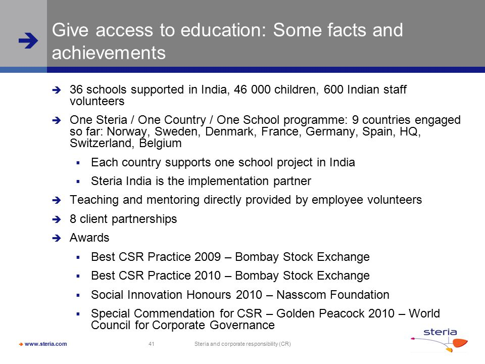 Give access to education: Some facts and achievements