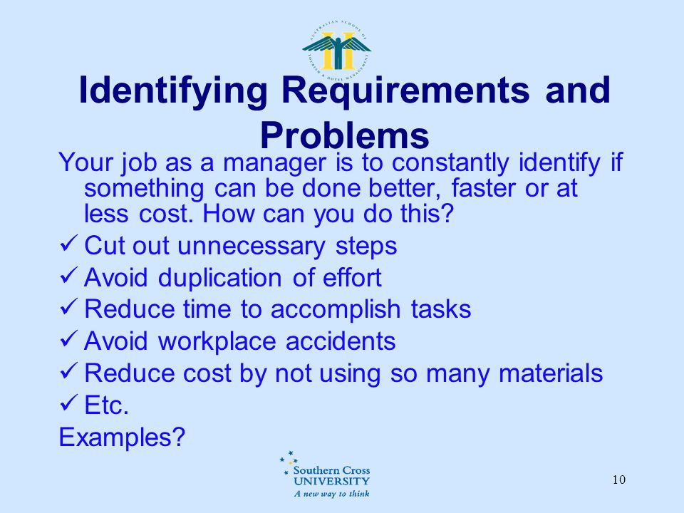 Identifying Requirements and Problems