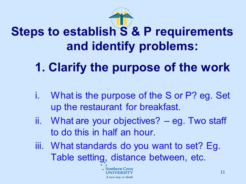 Steps to establish S & P requirements and identify problems: 1