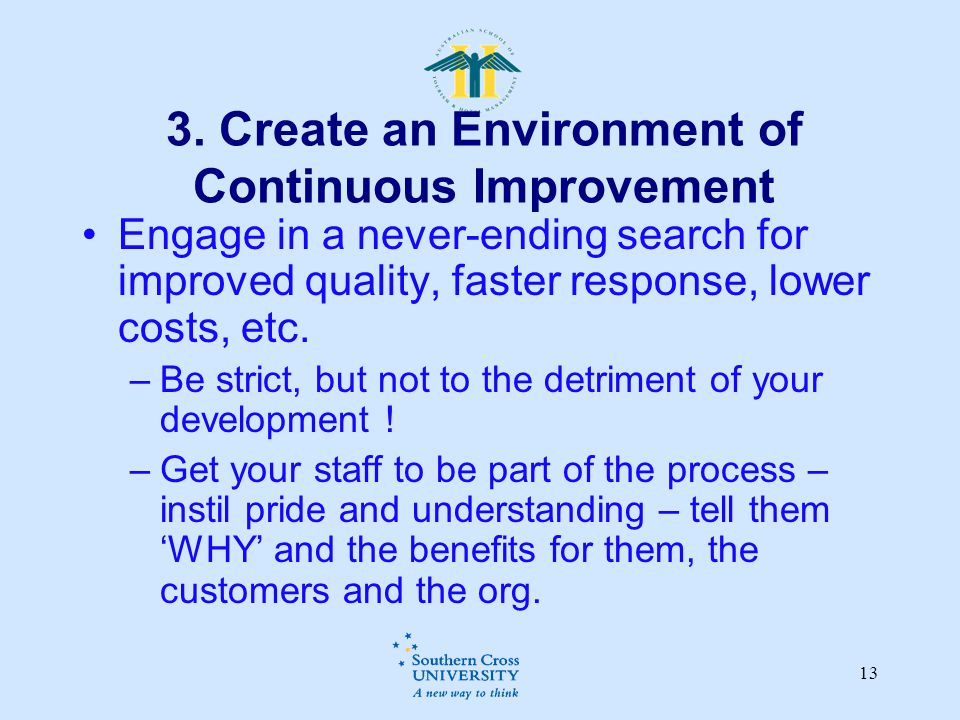 3. Create an Environment of Continuous Improvement