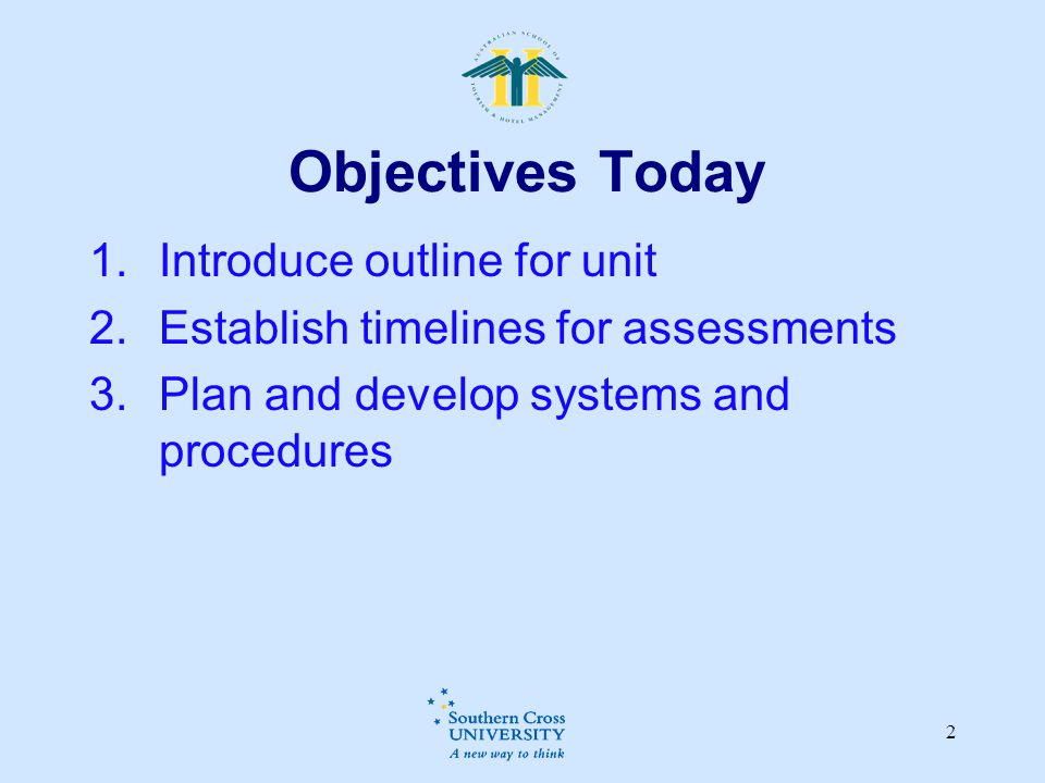 Objectives Today Introduce outline for unit