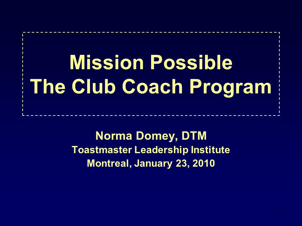 Mission Possible The Club Coach Program