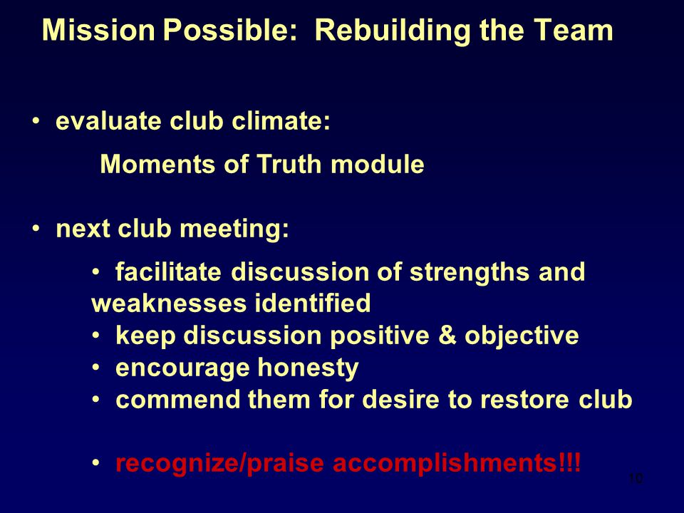 Mission Possible: Rebuilding the Team