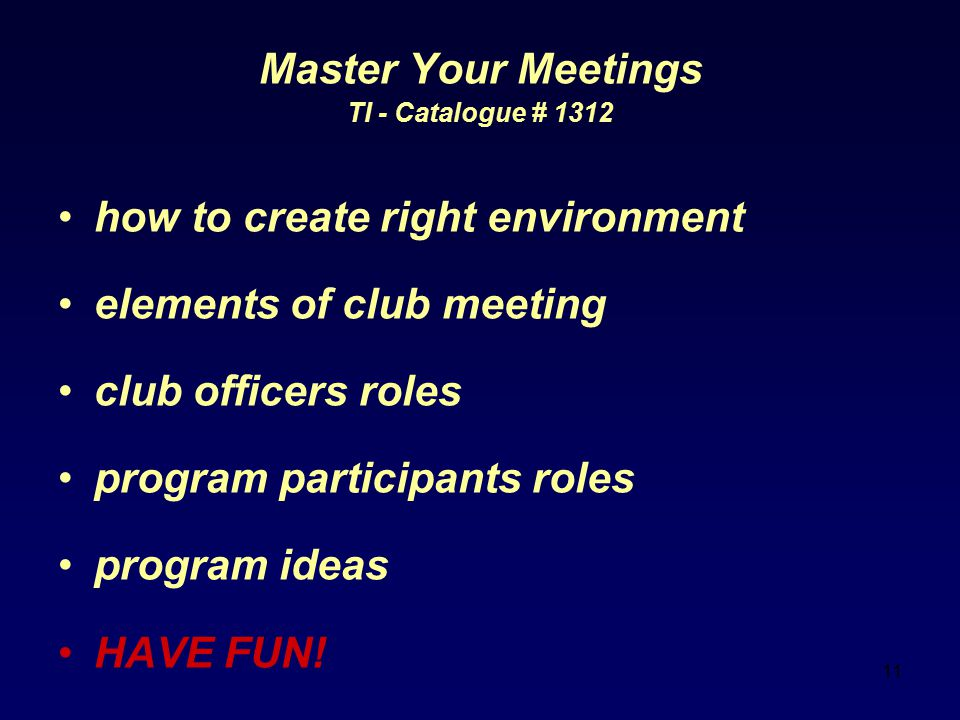 how to create right environment elements of club meeting