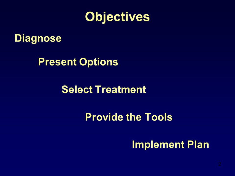 Objectives Diagnose Present Options Select Treatment Provide the Tools