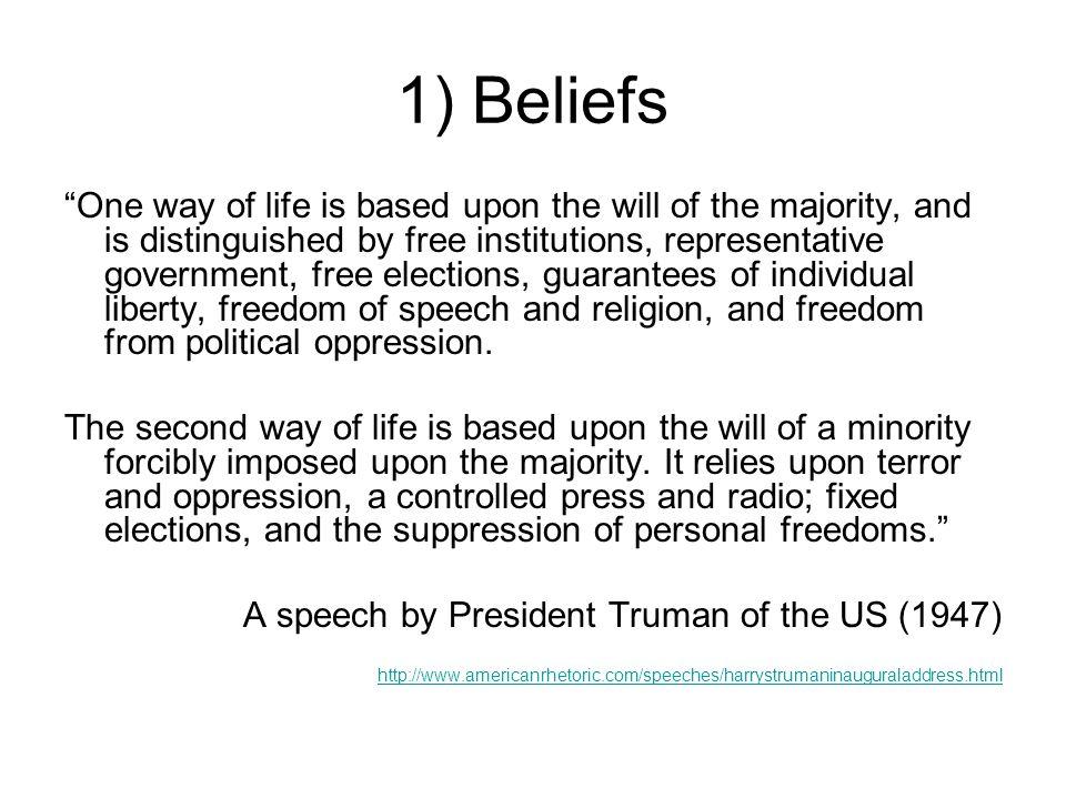 1) Beliefs