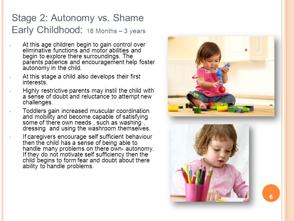 Stage 2: Autonomy vs. Shame Early Childhood: 18 Months – 3 years