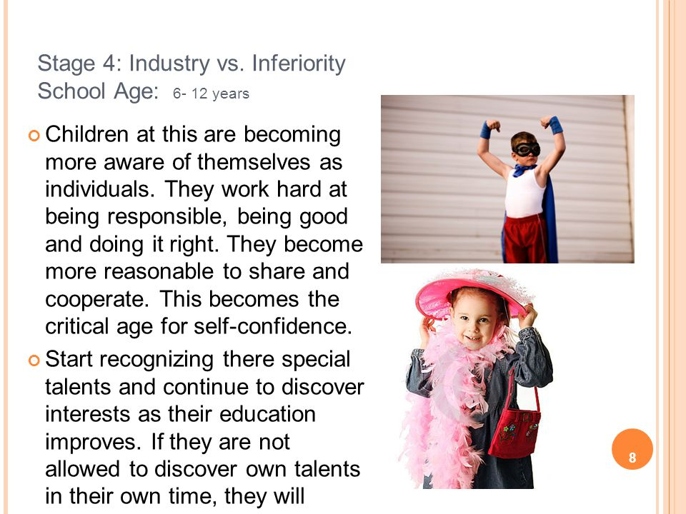 Stage 4: Industry vs. Inferiority School Age: 6- 12 years