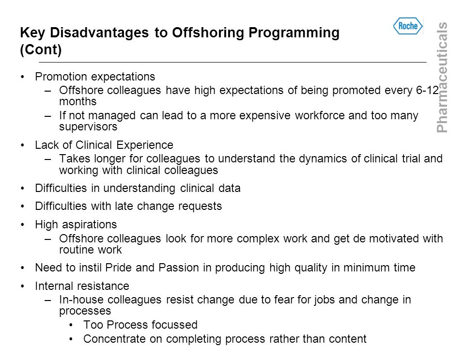 Key Disadvantages to Offshoring Programming (Cont)