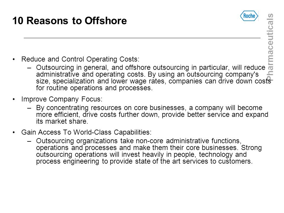 10 Reasons to Offshore Reduce and Control Operating Costs: