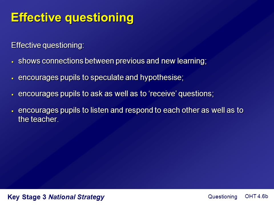 Effective questioning