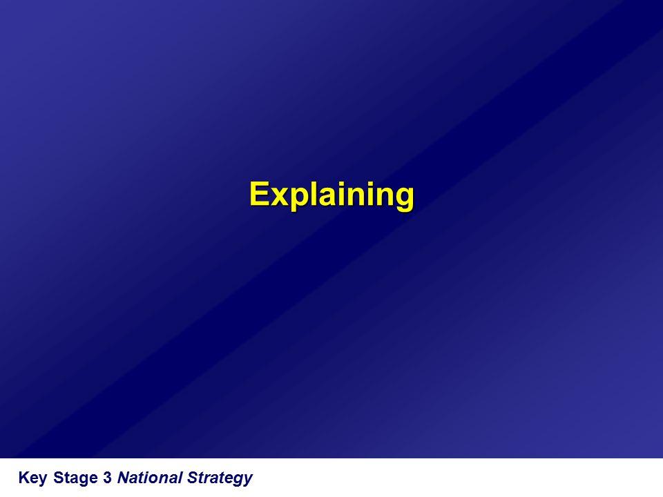 Explaining Key Stage 3 National Strategy