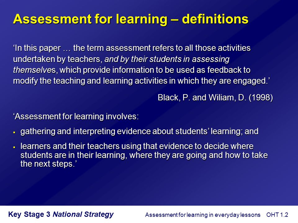 Assessment for learning – definitions