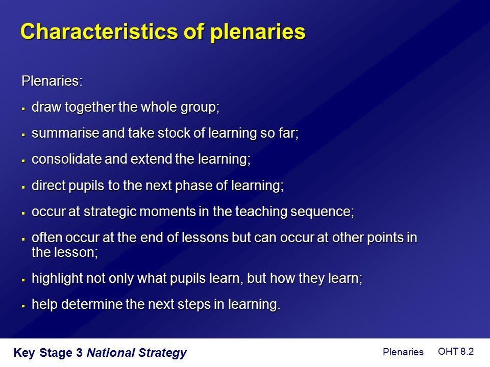 Characteristics of plenaries