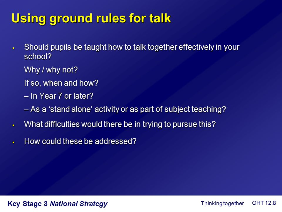 Using ground rules for talk