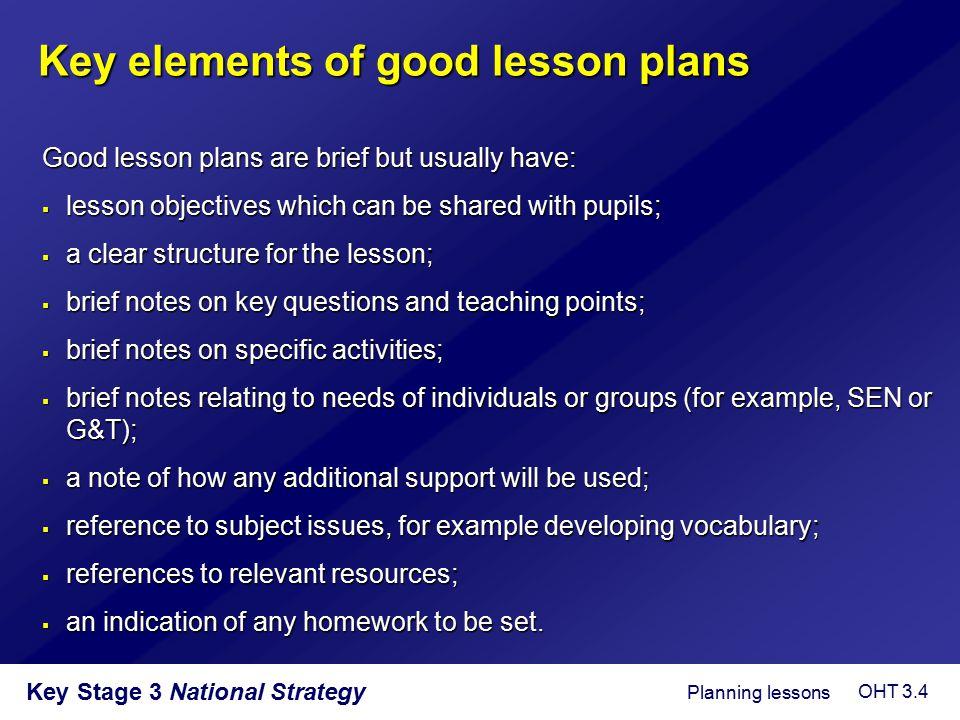 Key elements of good lesson plans