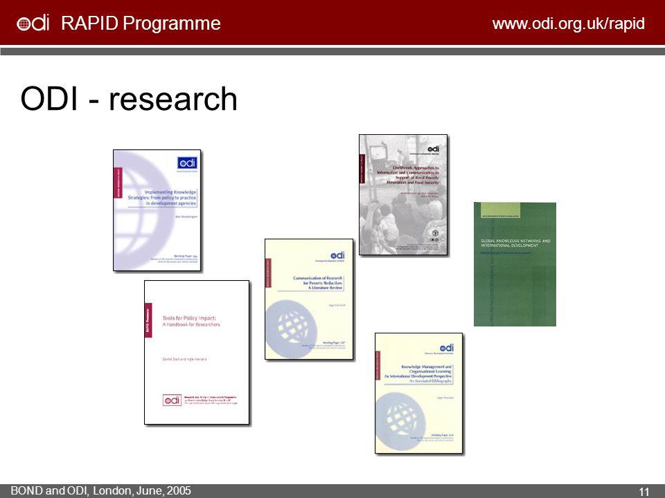 ODI - research Incorporating literature reviews, evaluations, case studies and action research within organisations.