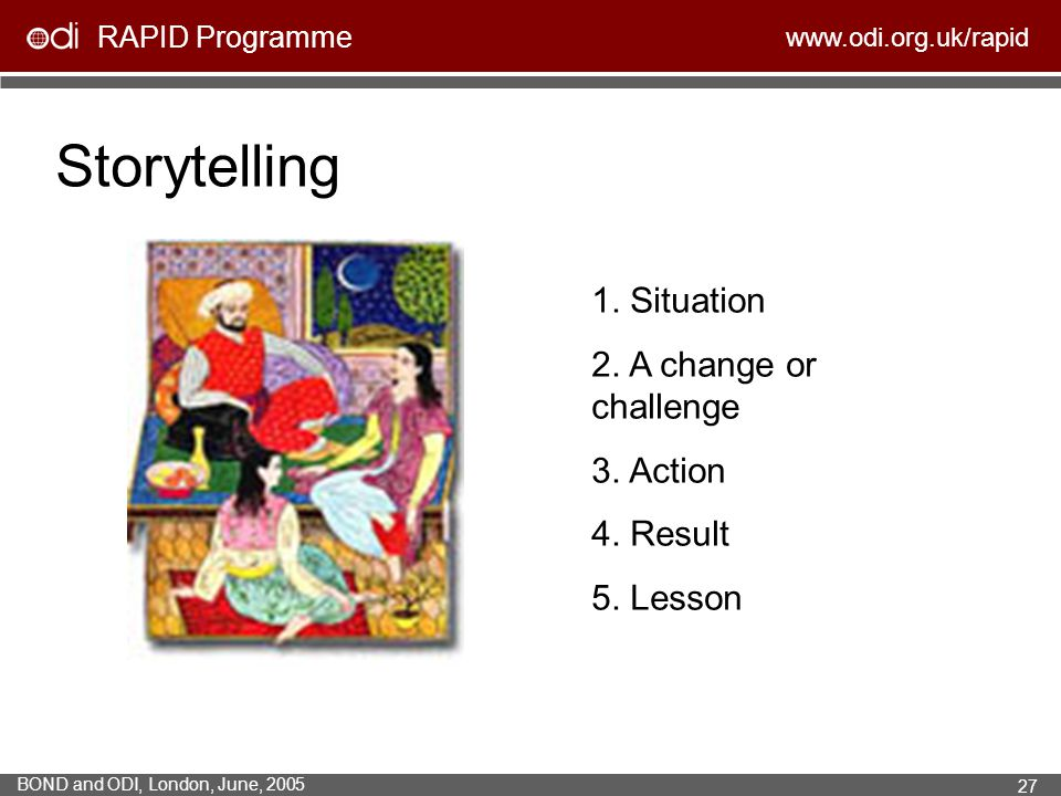 Storytelling 1. Situation 2. A change or challenge 3. Action 4. Result