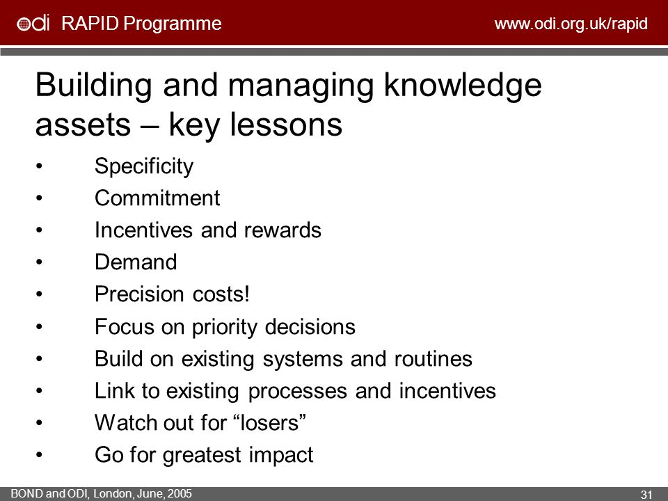 Building and managing knowledge assets – key lessons