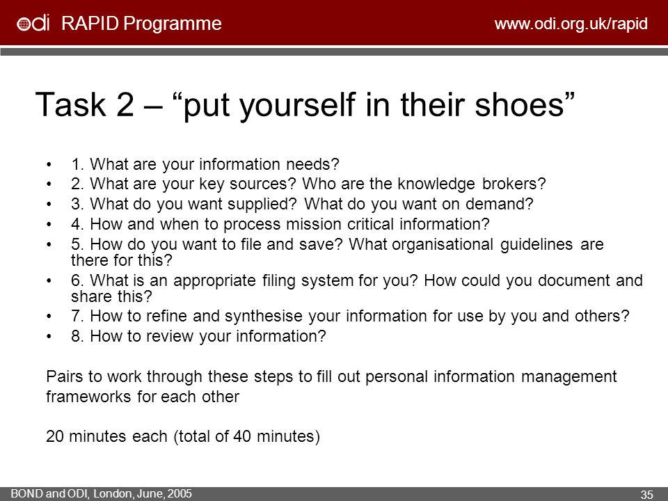 Task 2 – put yourself in their shoes