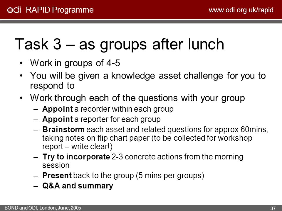 Task 3 – as groups after lunch