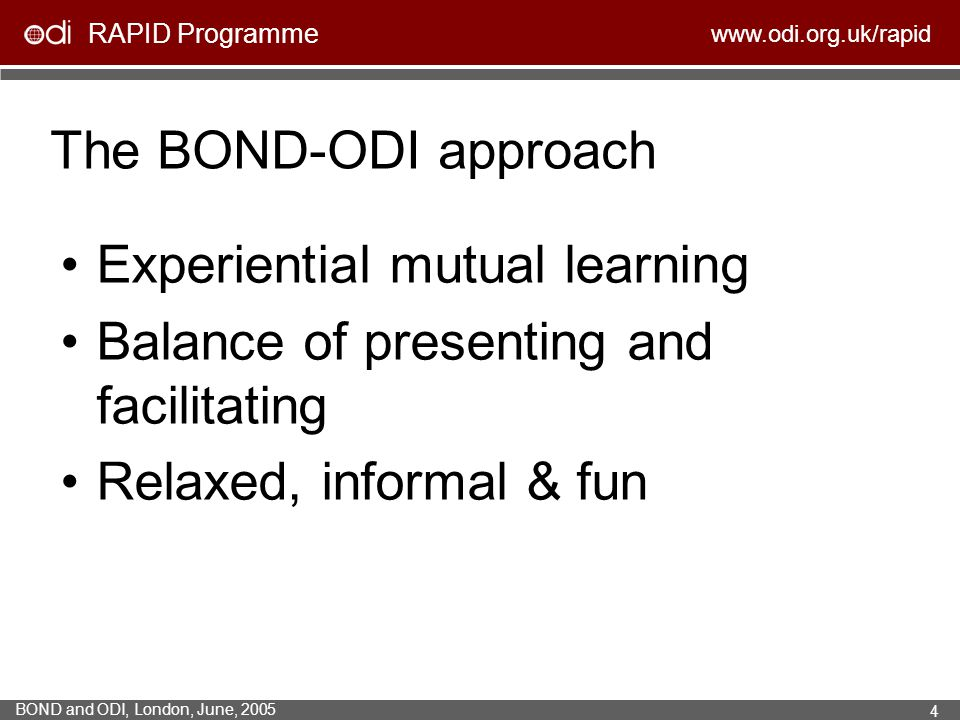 The BOND-ODI approach Experiential mutual learning.