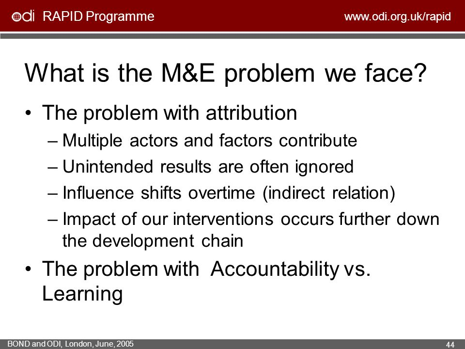 What is the M&E problem we face