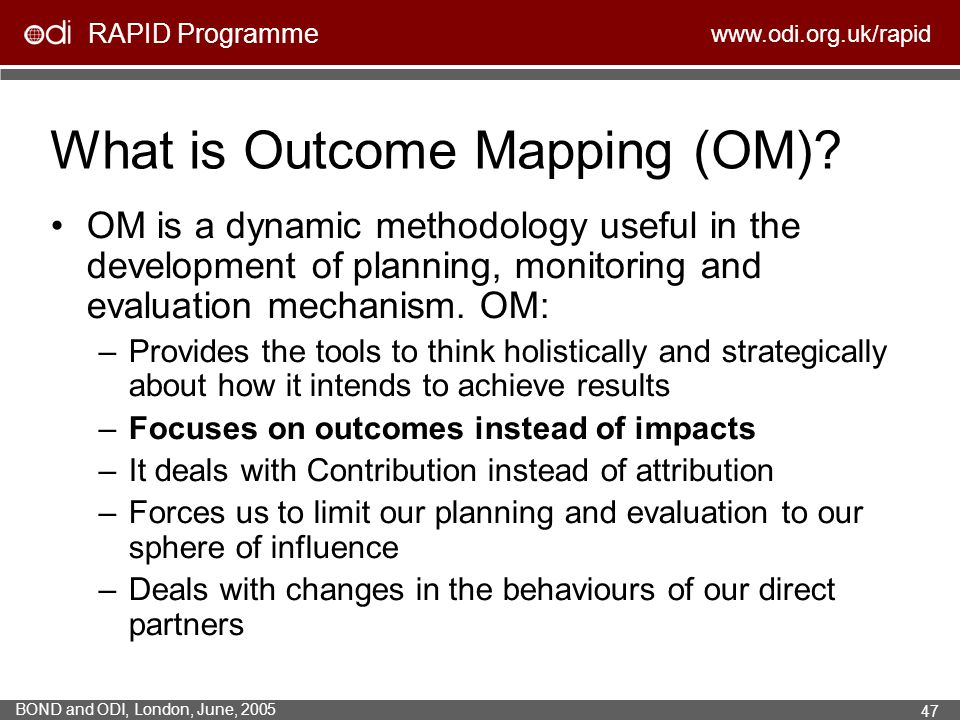 What is Outcome Mapping (OM)