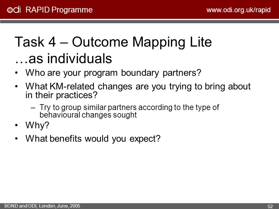Task 4 – Outcome Mapping Lite …as individuals