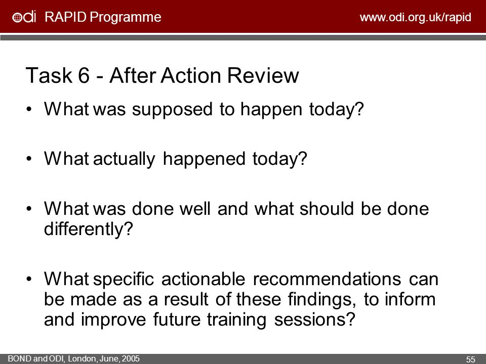 Task 6 - After Action Review