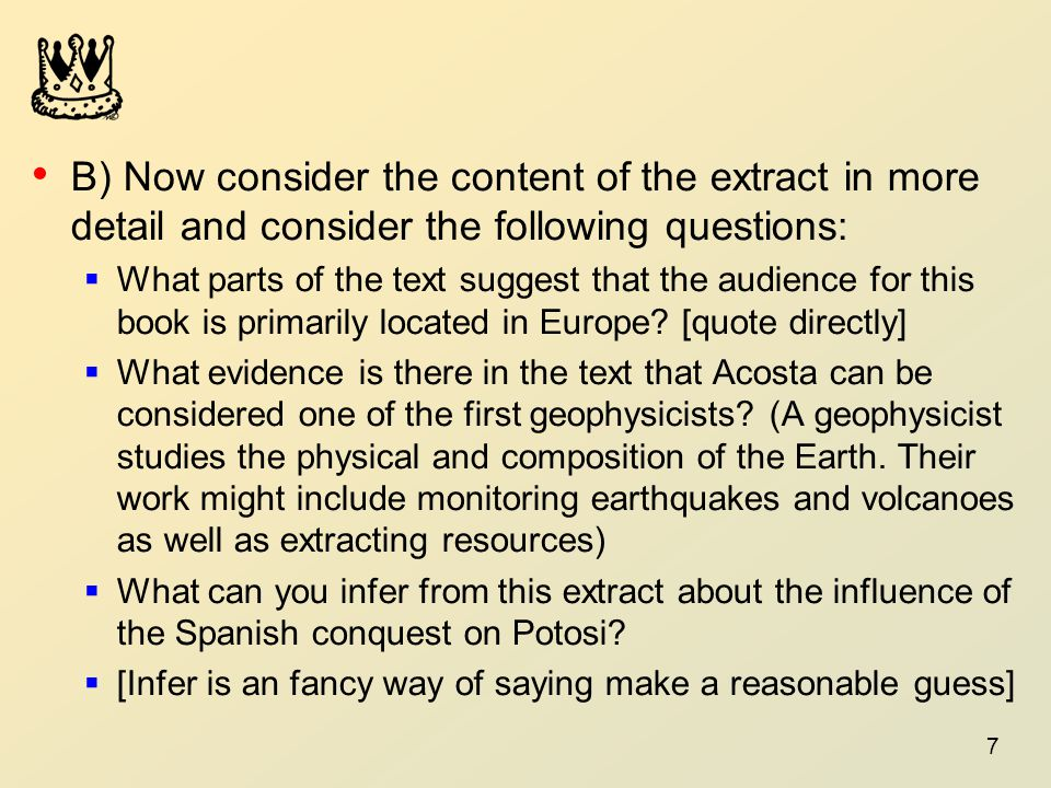B) Now consider the content of the extract in more detail and consider the following questions: