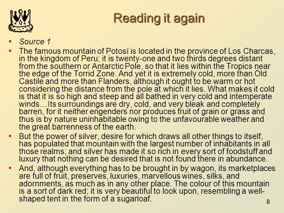 Reading it again Source 1