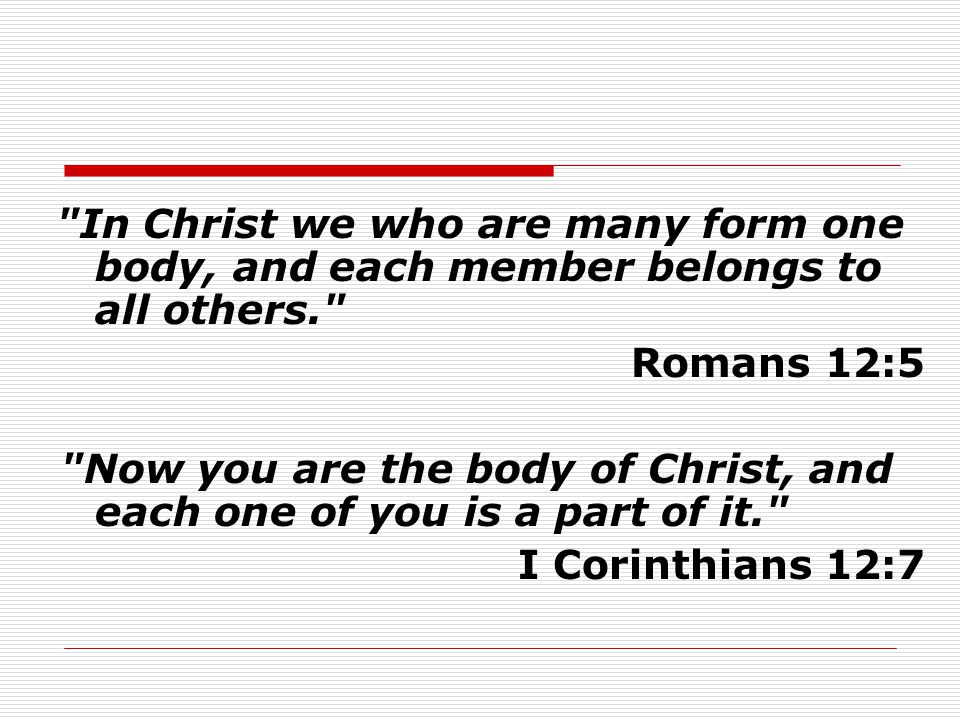 Now you are the body of Christ, and each one of you is a part of it.