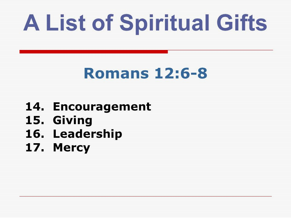 A List of Spiritual Gifts