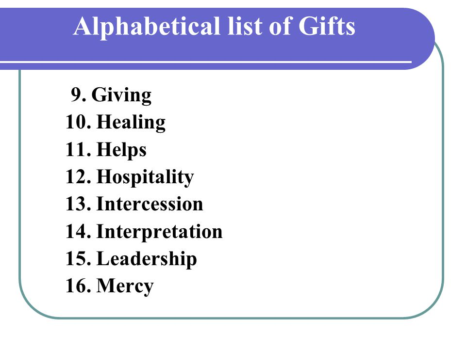 Alphabetical list of Gifts