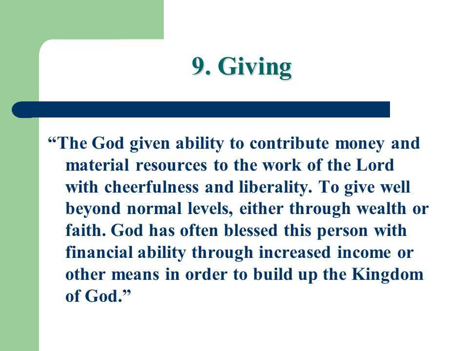 9. Giving