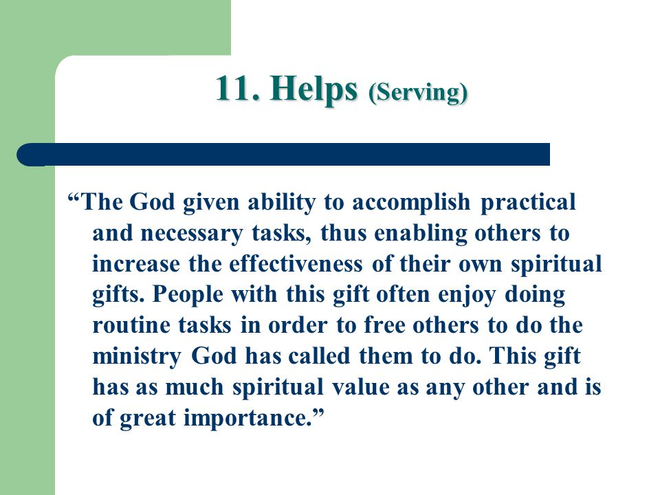 11. Helps (Serving)