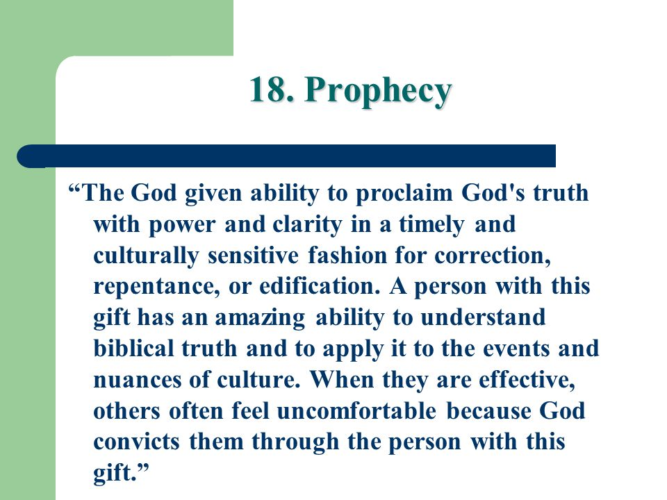 18. Prophecy