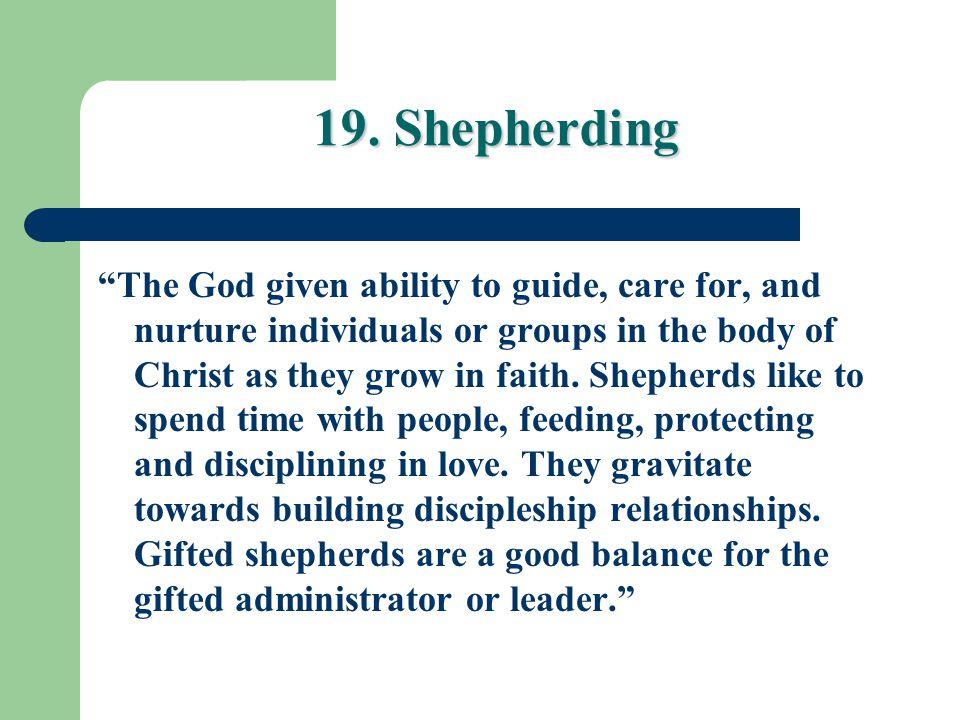 19. Shepherding
