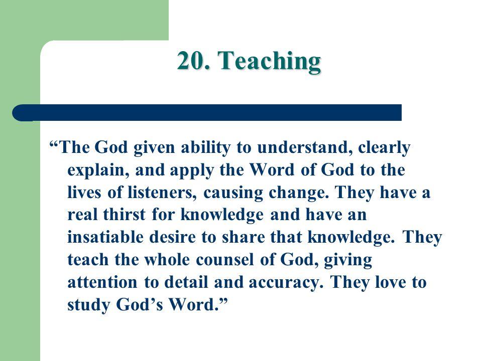 20. Teaching