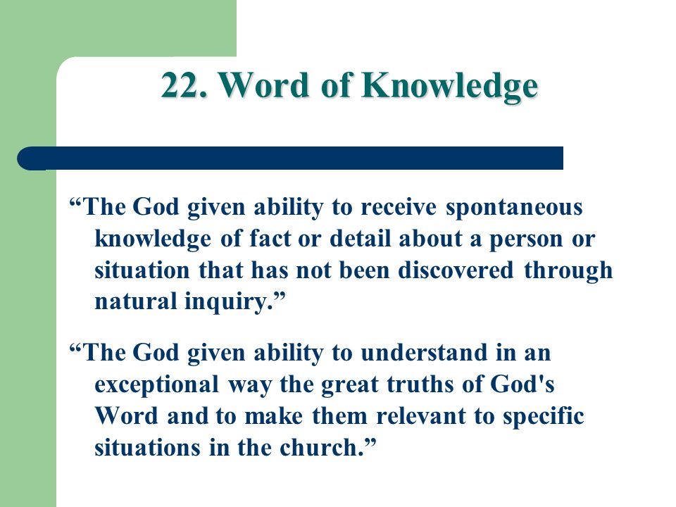 22. Word of Knowledge