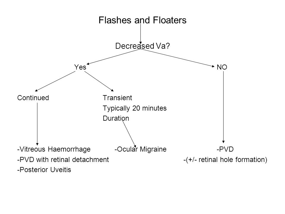 Flashes and Floaters Decreased Va Yes NO Continued Transient