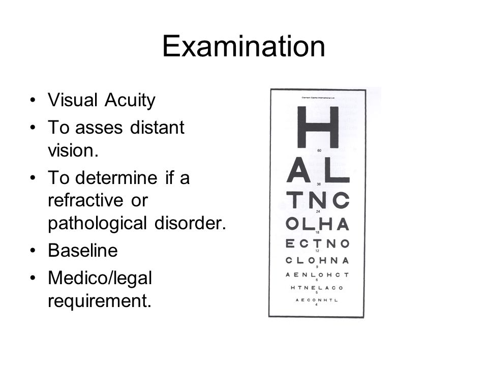 Examination Visual Acuity To asses distant vision.