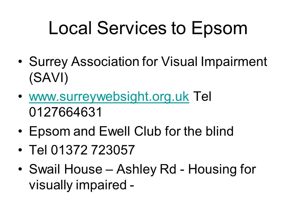 Local Services to Epsom