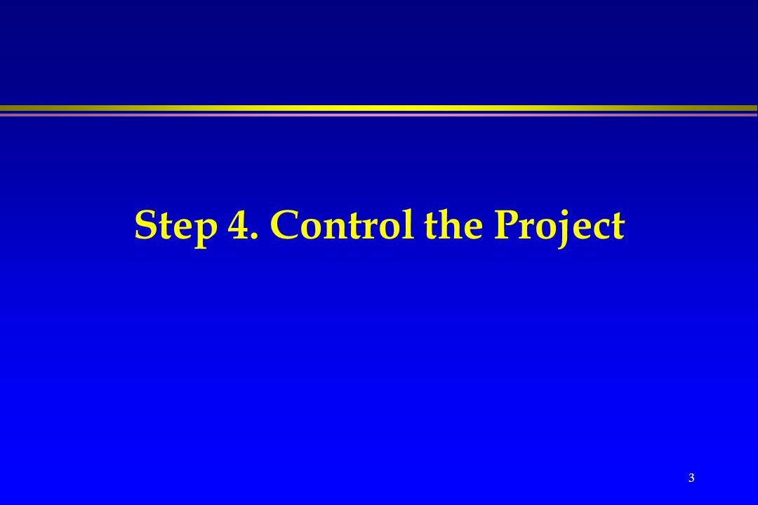 Step 4. Control the Project