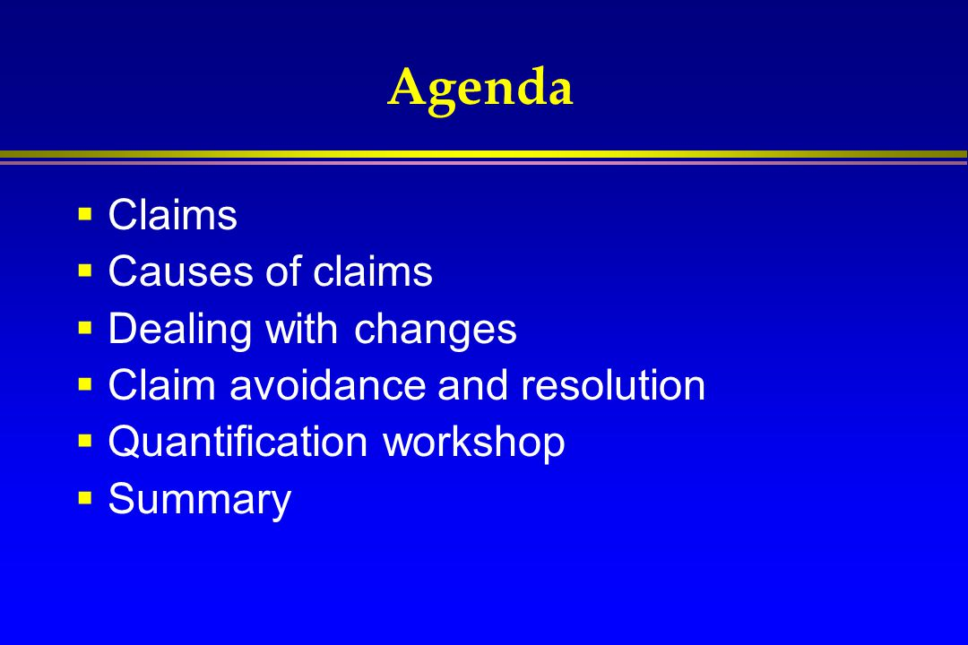 Agenda Claims Causes of claims Dealing with changes